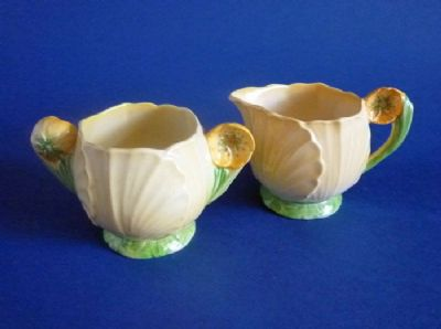 Lovely Carlton Ware Yellow 'Buttercup' Cream and Sugar c1938